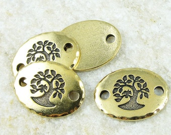 Rivetable Focal Bar Link - Antique Gold Tree of Life Yoga Charms - TierraCast Bird in a Tree Link Leather Findings - Mindfulness (PF761)