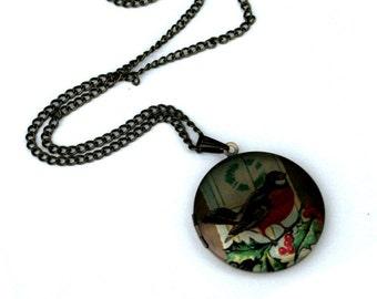 Bird Locket Necklace, Bird Necklace, Woodland