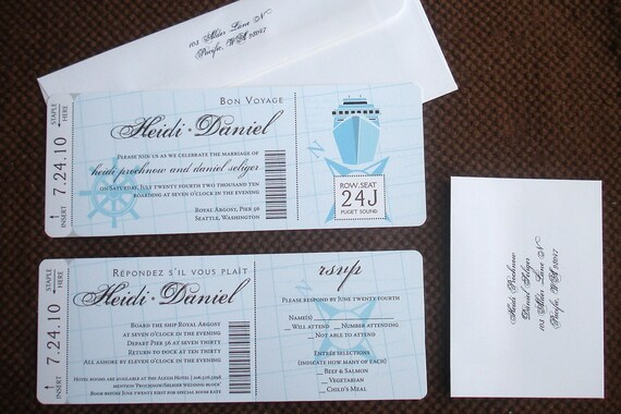 Cruise Wedding Invitation Wording Examples: Nautical Wedding Boarding Pass Invitation Tropical Boarding