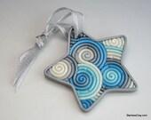 Turquoise and Silver Star Ornament in Fimo Filigree (Mini)