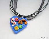 Heart Pendant with Koi Pond in Polymer Clay Filigree Valentine's Day Gift