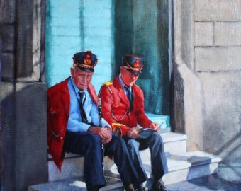The Band Played On - Original Oil Painting Portrait of Two Musicians in Marino Italy