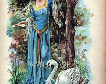 Instant Digital Download Printable Print Book Page Girl Beauty feeds Swan Ephemera Vintage Scrapbook