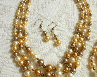 Triple Strand Swarovski Pearl Necklace, Earrings, and Bracelet Set