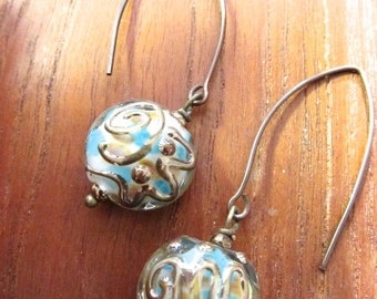 Glass Lampwork Earrings, Murano Glass Dangle