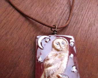 Porcelain Owl Necklace, Stars Moon Bird Jewelry