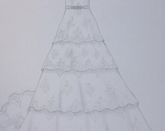 Custom hand drawing wedding dress sketch, original wedding gown painting, bride dress one year paper anniversary gift, say yes to the dress