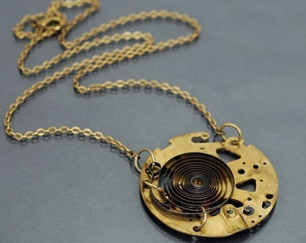 Steampunk Jewelry- Upcycled Brass Clock Part Necklace, Steampunk Necklace, Industrial Jewelry, Clock Spring Necklace by Tanith Rohe