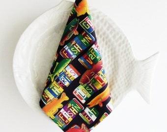Gone Fishing Cotton Napkins / Set of 4 / Black, Orange, Blue, Green & Yellow Sport FIshing Table Decor / Eco-Friendly Unisex Gift Under 50