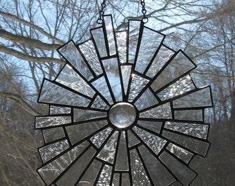 Clear Stained Glass Sunburst Suncatcher