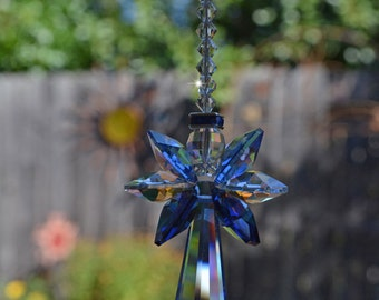 "7-12"" Long Choose Length Angel Baby Guardian Angel of Boys Swarovski Crystal Rainbow Suncatcher Rearview Mirror Car/Home Charm Memorial Gift"