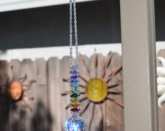 "Authentic 100 Beaded 10"" to 13"" Long Graduating Mesmerizing Swarovski Crystal AB Ball Chandelier Ladder Rainbow Suncatcher, Long Home Style"