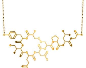 Oxytocin Molecule Necklace - Gold