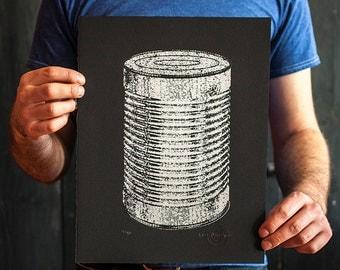 Silver metallic tin can hand printed silk screen art print on black