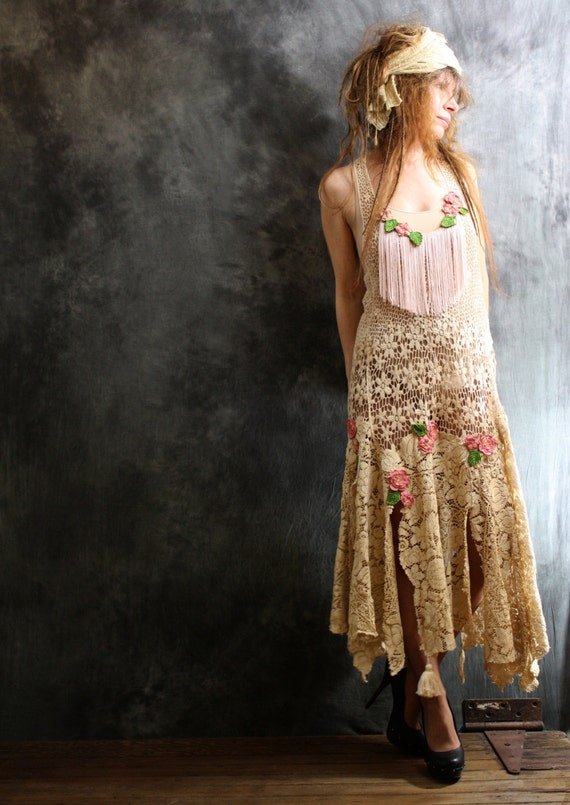 Items similar to Vintage Look Dress Bohemian Gypsy Hippie ...
