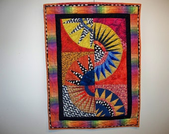 SUNRISE, SUNSET, 19 x 26 Hand Quilted New York Beauty Wallhanging