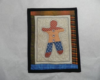PATCHWORK GINGERBREAD MAN, 9 X 11 inch quilted mini quilt