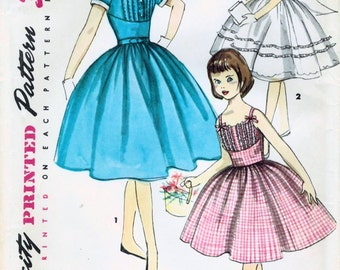 1950s Simplicity 1562 UNCUT Vintage Sewing Pattern Girl's Sundress, Party Dress, Formal Dress Size 12