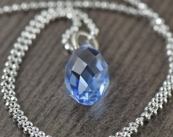 September Birthstone Sapphire blue crystal necklace on sterling silver chain