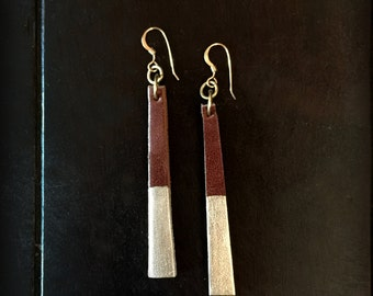 Gold Dipped Leather Earrings