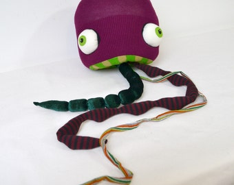 Jellyfish mobile hanging art doll tentacles recycled fabric