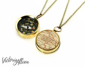 Large Map Compass Necklace with Robert Frost or Personalized Quote, Working Compass, Road Not Taken, Poetry Jewelry, Grad, Inspiration