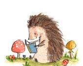 Childrens Art -- Bookish Hedgehog -- Art Print