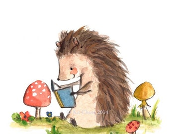 Childrens Art -- Bookish Hedgehog -- Art Print