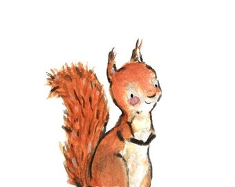 Nursery Art -- SQUIRREL -- Art Print