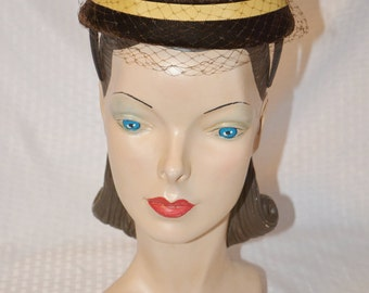 1950s Vintage NOS Unworn with Tags Brown & Yellow Pill Box Hat