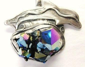 Dolphin over the Rocks pendant with Titanium Quartz, symbolic pendant, ocean life pendant with titanium quartz, one of a kind