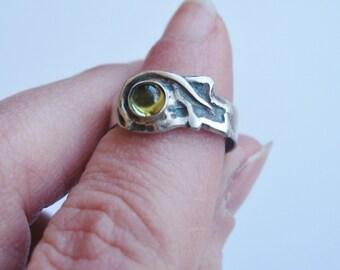 Peridot Autumn Leaf ring, peridot with oak leaf symbolism, gemstone ring, sterling ring, peridot ring, spiritual jewelry