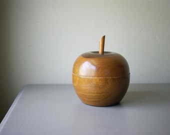 Mid Century Wood Apple Box | Gift for Teacher | Fall Decor | Autumn Accent | Wooden Fruit | Mid Century Modern Decor