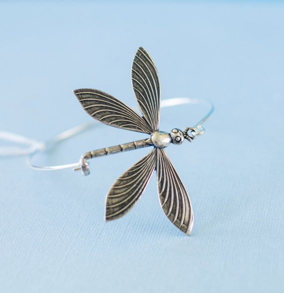 Silver Dragonfly Bangle bracelet | Nature-inspired earthy etched cute metal insect sophisticated jewelry | Handmade in Santa Cruz