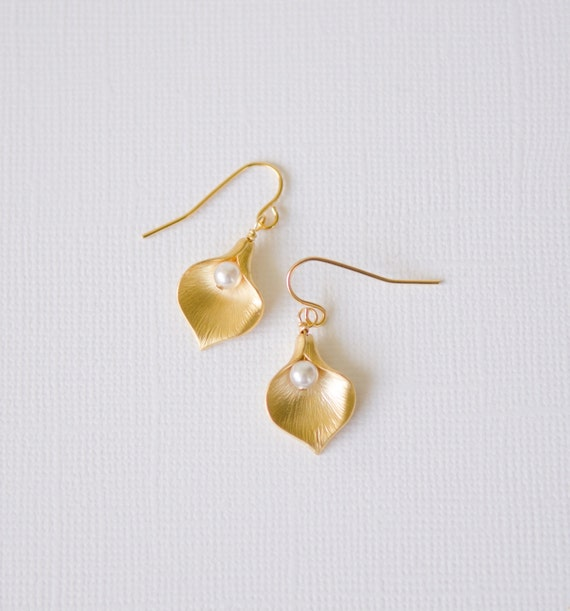 Gold Calla Lily Earrings | Unique flower garden nature-inspired floral leaf Swarovski pearl matte plated jewelry | Handmade in Santa Cruz