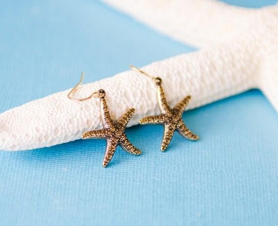 Starfish Earrings, Gold, nature-inspired, ocean, beach, delicate, dangle, stamped, jewelry, Handmade in Santa Cruz