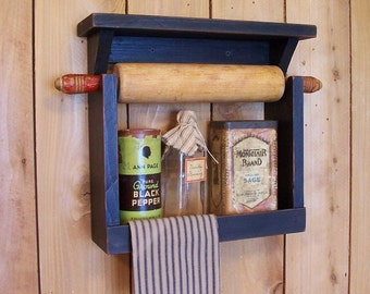 Farmhouse Style Rolling Pin Spice Rack Handmade by Sawdusty / Lamp Black / Color Choice
