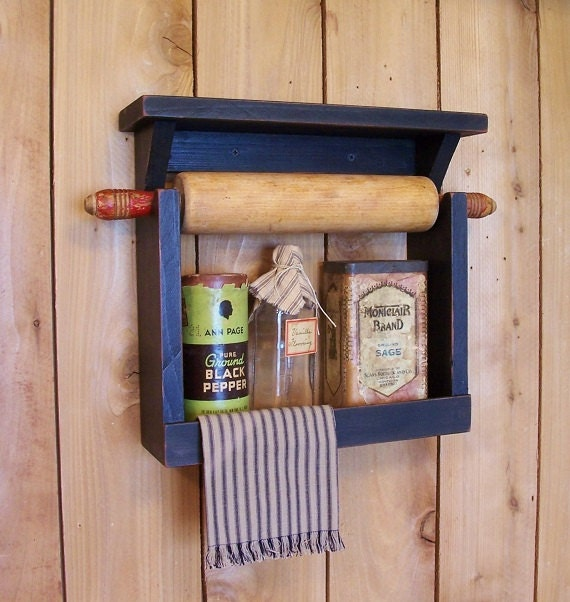 Farmhouse Style Rolling Pin Spice Rack Handmade By Sawdusty