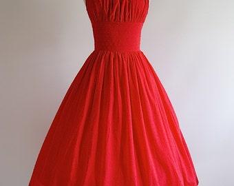 1950s Style Sun Dress ~ Vintage 50s Style Swiss Dot Cotton Dress ~ Xtabay Swiss Dot Wedding Dress