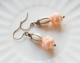 Magnolia Peach - beaded earrings