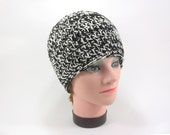 Crochet Beanie Hat Black and Off White Two Tone Double Yarn Bulky Skully