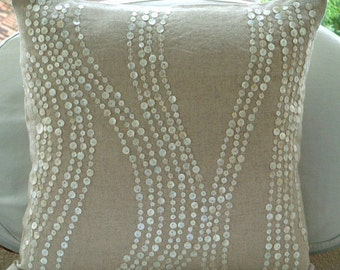 """Luxury Ecru Accent Pillows, 16""""x16"""" Cotton Linen Pillows Cover, Square  Mother Of Pearls Scroll Pillows Cover - Pearl Linen Charm"""