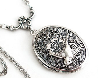 Etched Silver Locket Necklace Jewelry - I'll Fly Away in the Morning