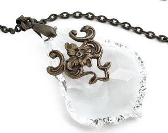 French Cut Crystal Clear Prism in Bronze Filigree Necklace - Glass Crystal Jewellery