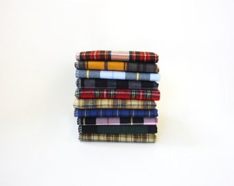 Mens Handkerchief Set - 10 Mixed Plaid Hankies - Gift for Men - Fathers Day Gift - Soft Reusable Tissues - Eco Friendly - Paperless