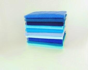 10 Blue Cloth Napkins - Unpaper Towels - Reusable Paper Towels - Mixed Beautiful Blues - Cloth Paper Towels - Flannel Napkins -  10 x 12 cb