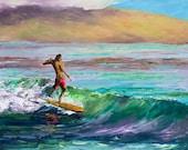 SURF JUNKIE Framed Original Oil Painting Art Surfer Surfing Surfboard Longboard Longboarder Dude Ocean Hawaii Paradise Vacation Island Relax