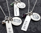 Personalized Three Charm Necklace - Hand Stamped Sterling Silver w/ Child's Name and Birthstone Crystal - EWD Trio Necklace