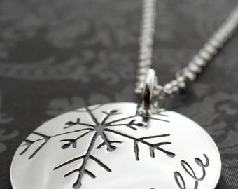 Personalized Snowflake Necklace in Sterling Silver - Snowflake Jewelry Gifts - Engraved Snowflake with Name by EWD