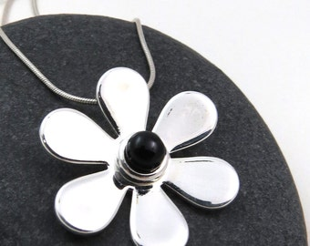 Black Gerbera Daisy Necklace - Black and Silver Jewelry